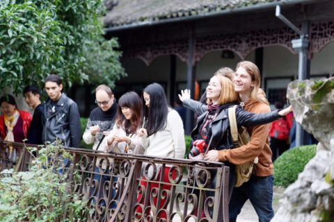 Group of people in a traditional Chinese park
