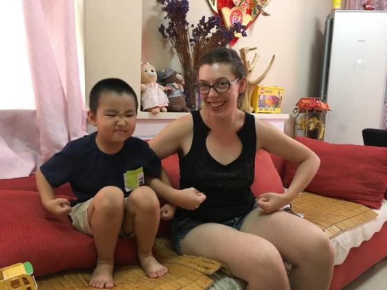 Eowyn with her homestay brother in Chengde