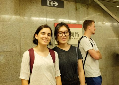 Maria and two friends waiting for the metro at South Shaanxi Road metro station