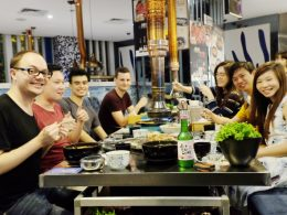 Korean BBQ dinner - students and staff