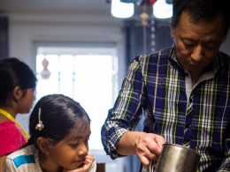 Homestay Dad teaching how to cook
