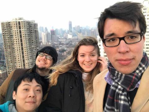 Emma, Sam, Tony, and Alex selfie on the LTL Shanghai rooftop