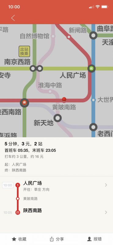 From People's Square to Shaanxi South Road. The trip will take 5 minutes, cost 3 RMB, and take 2 stops.