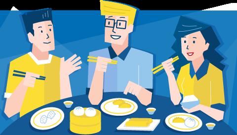 Three people eating dumplings with chopsticks