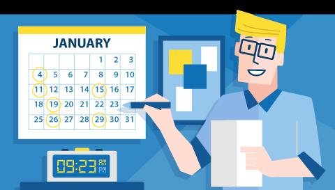 Illustration, man with calendar
