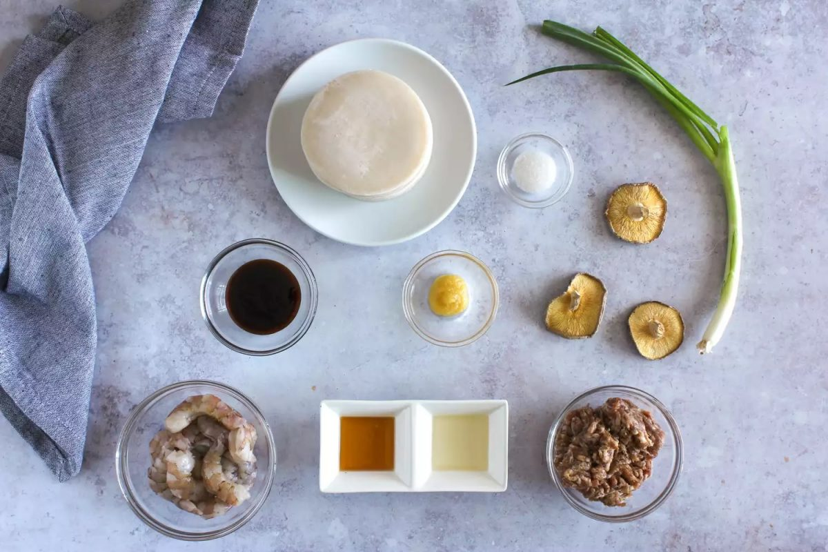 Common ingredients for Shao Mai - Shanghai breakfast