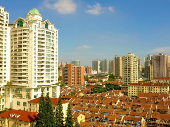 Shanghai skyline from the school window