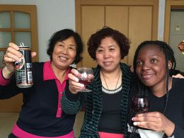 Gaelle from Cameroon with her homestay family