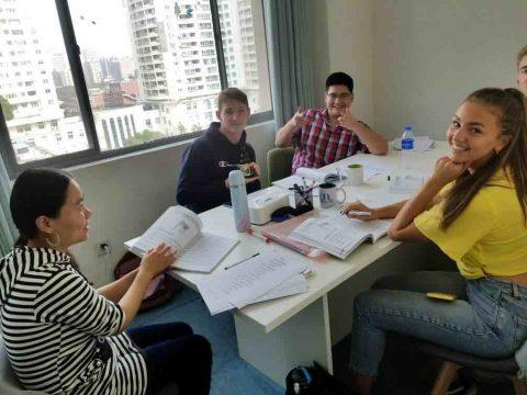 LTL Shanghai classroom where a teacher is having class with four students