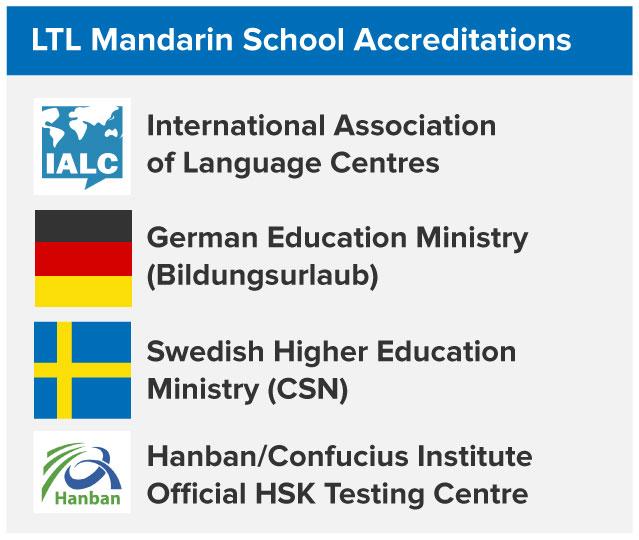 List of LTL Mandarin School accreditation, International Association of Language Centres, German Education Ministry, Swedish Higher Edducation Ministry, and Hanban HSK