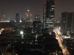 Nighttime view from the Shanghai school rooftop