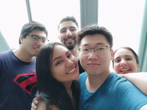 Group of students taking a selfie inside a LTL Shanghai classroom