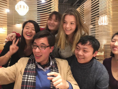 Group selfie in a Chinese restaurant