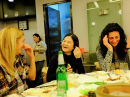 Students Lena, Enny and Valentina together at LTL Dinner