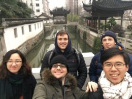 Will, Alex, Lyn, School Director Alex, and Stuart together at Nanxun water town