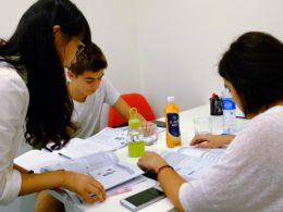 Teacher Amy, with students Theodore, and Maria. LTL Small group class.