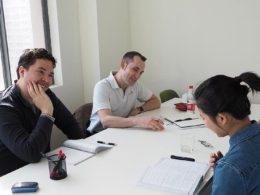 Michiel and Scott learning Business Chinese with Dannie